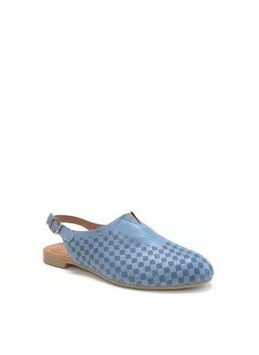 Ballerins Hakiki Deri El Yapımı Mavi Babet Blrs-142-10 Mavi